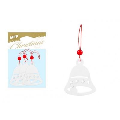 Dekorace dřevěné zvoneček bílý, 3 ks