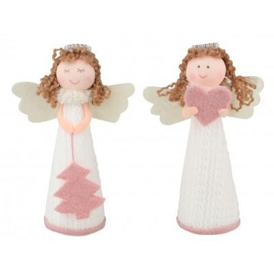 Anděl pletený bílý s růžovými doplňky